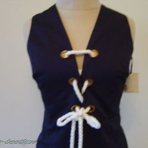Milly Of New York Navy Tie Front Rope Shift Dress
